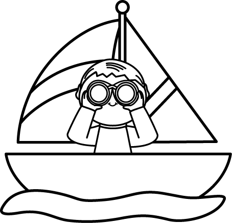 Black and White Boy with Binoculars in a Sailboat Clip Art ...