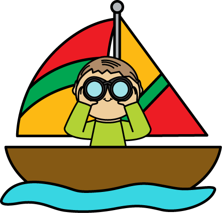 Boy with Binoculars in a Sailboat