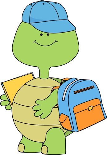 Boy Turtle Going to School