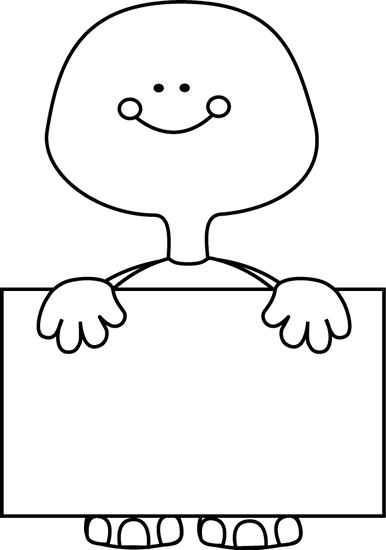 Black and White Black and White Turtle Holding a Blank Sign