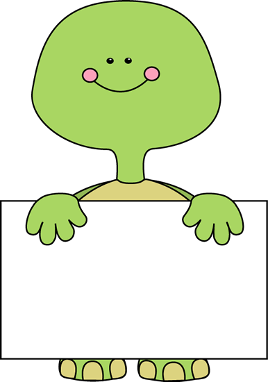 Turtle Holding a Blank Sign