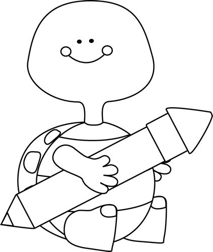 Black and White Black and White Turtle Holding a Pencil