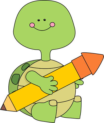 Turtle Holding a Pencil
