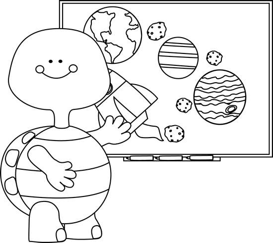 Black and White Black and White Turtle Teacher at Smart Board