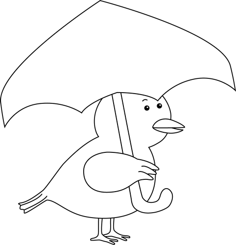 Black and White Bird Holding an Umbrella Clip Art - Black and ...