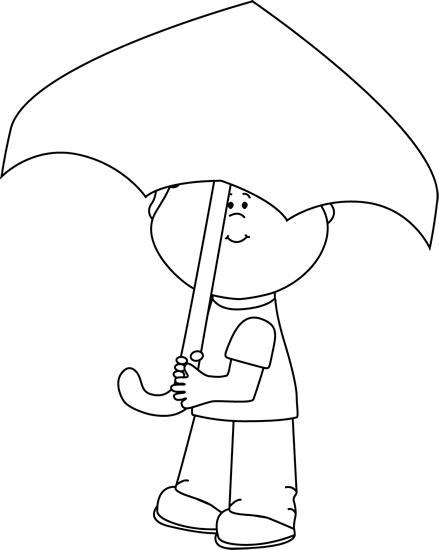 Black and White Boy Under an Umbrella