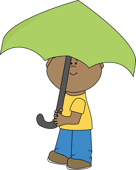 Boy Under Umbrella