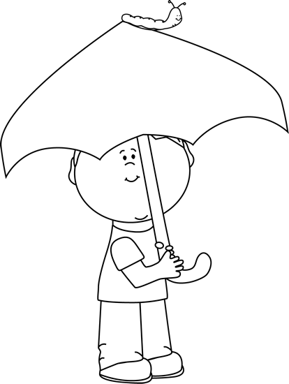 Black and White Boy with Umbrella and Caterpillar