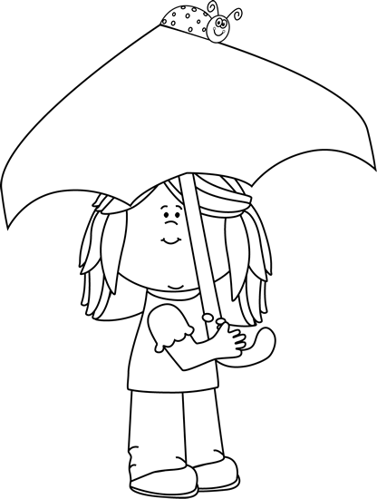 Black and White Girl with Umbrella and Ladybug