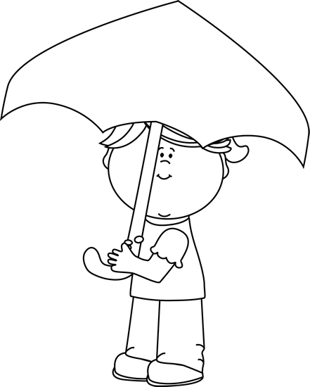 Black and White Little Girl with an Umbrella