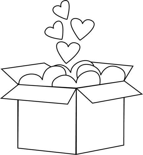 Black and White Box of Valentine Hearts
