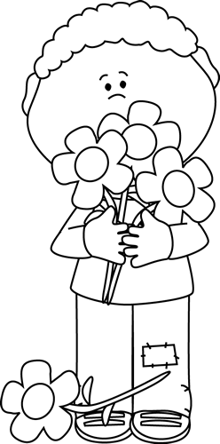 Black and White Boy Holding Valentine Bouquet