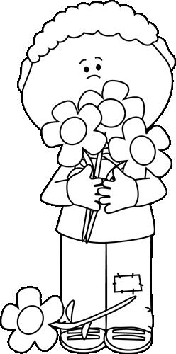 Black and White Boy Holding Valentine Bouquet