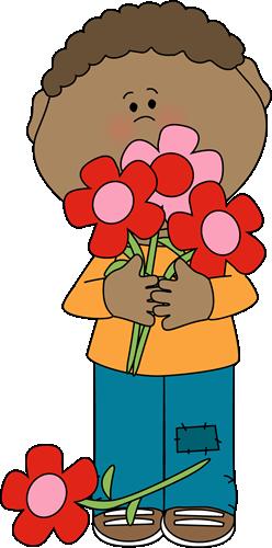 Boy Holding Valentine Bouquet