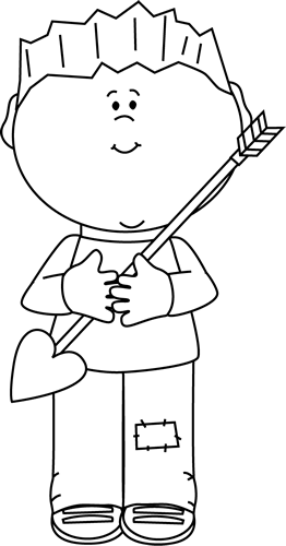 Black and White Boy Holding a Valentine's Day Arrow