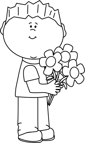 Black and White Boy Holding a Valentine's Day Floral Bouquet