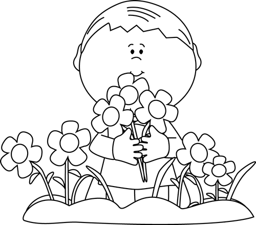 Black and White Boy Picking Valentine's Day Flowers