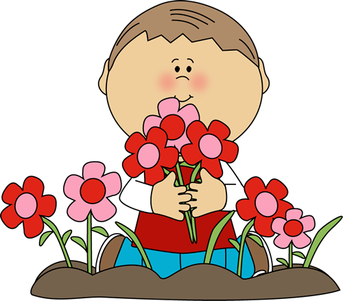 Boy Picking Valentine's Day Flowers