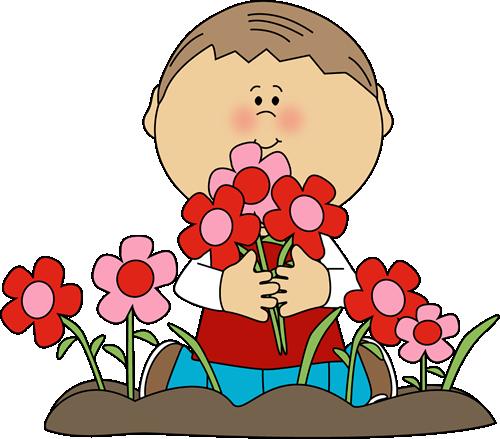 Boy Picking Valentine's Day Flowers
