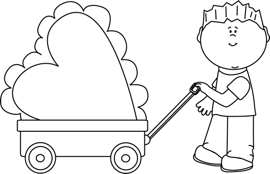 Black and White Boy Pulling Valentine in a Wagon