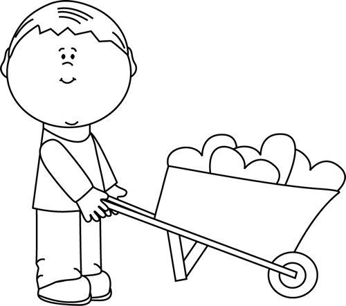 Black and White Boy with Wheelbarrow of Hearts