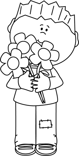 Black and White Boy with Valentine's Day Flowers