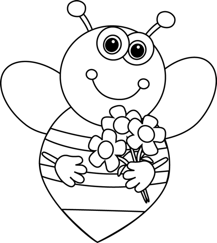 Black and White Cartoon Valentine's Bee with Flowers