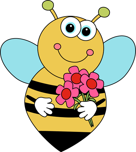 Cartoon Valentine's Bee with Flowers