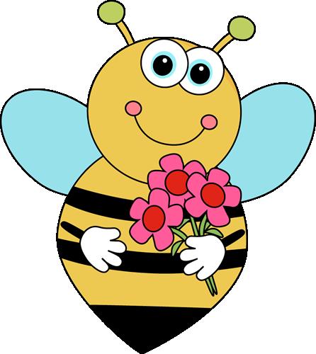 Cartoon Valentine's Bee with Flowers