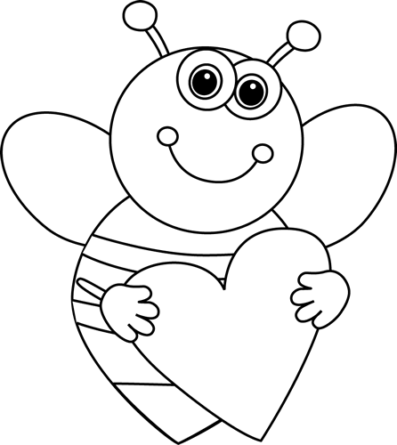 Black and White Cartoon Valentine's Day Bee