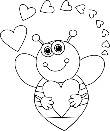 Black and White Cartoon Bee with Valentine's Day Hearts