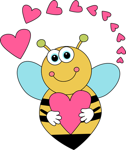 Cartoon Valentine S Day Bee And Hearts Clip Art Cartoon