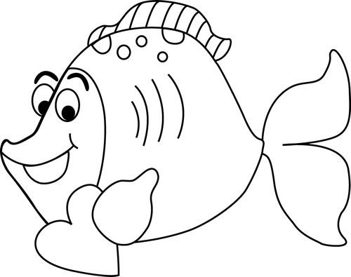 Black and White Cartoon Valentine's Day Fish