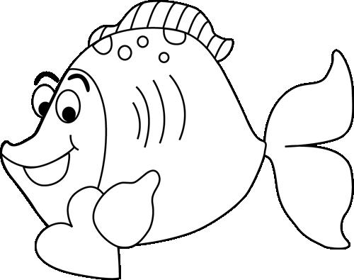 Black and White Cartoon Valentine's Day Fish