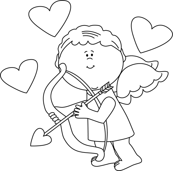 Black and White Cupid with Hearts