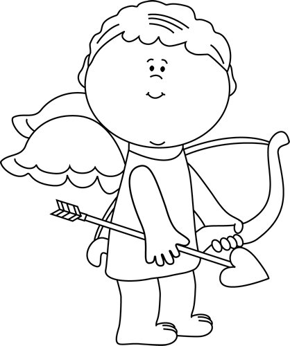 Black and White Cute Valentine's Day Cupid