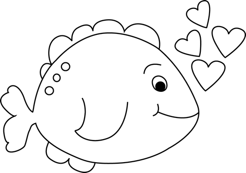 Cute Black and White Valentine's Day Fish