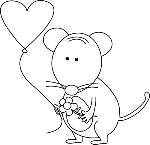 Cute Black and White Valentine's Day Mouse