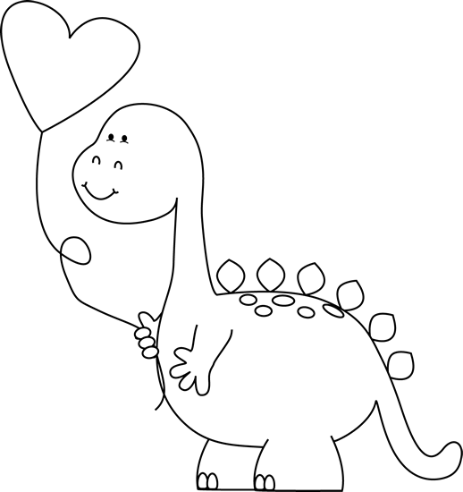 Black and White Valentine Dinosaur with Balloon