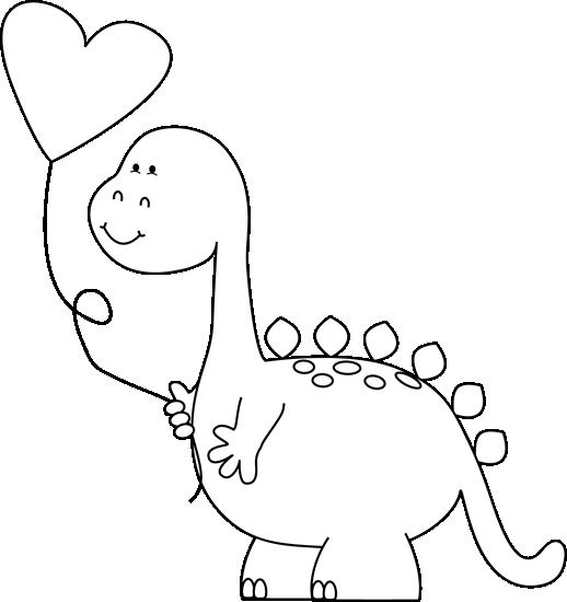 Black and White Valentine Dinosaur with Balloon