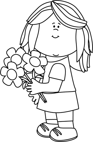 Black and White Girl Holding Valentine's Day Flowers