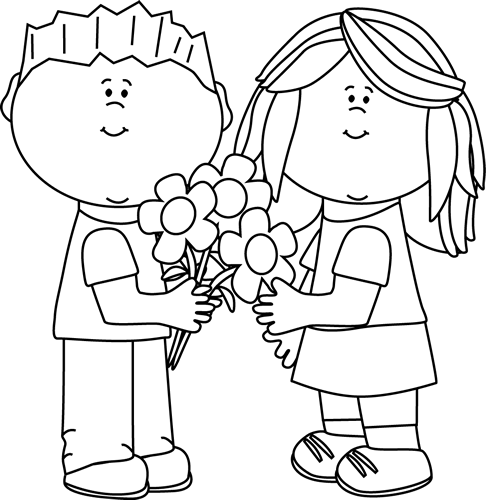 Black and White Kids with Valentine's Day Flowers