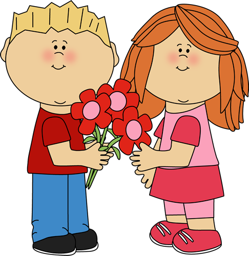 Kids with Valentine's Day Flowers