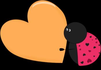 Valentine Lady Bug Holding a Big Heart