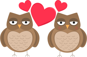 Owls In Love Valentines Day Clip Art