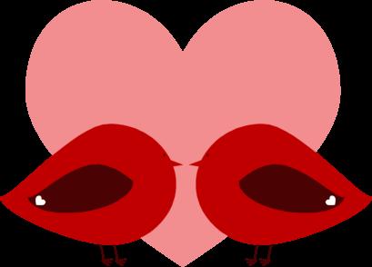 Red Valentine Love Birds