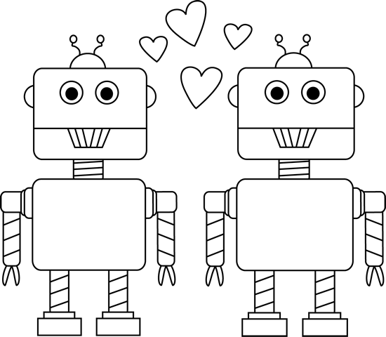 Black and White Robot Love Valentine Clip Art
