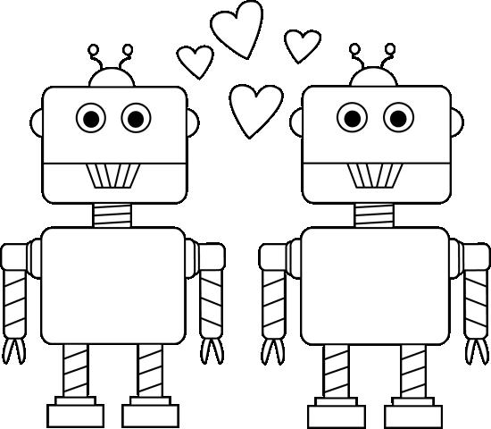 Black and White Robot Love Valentine Clip Art