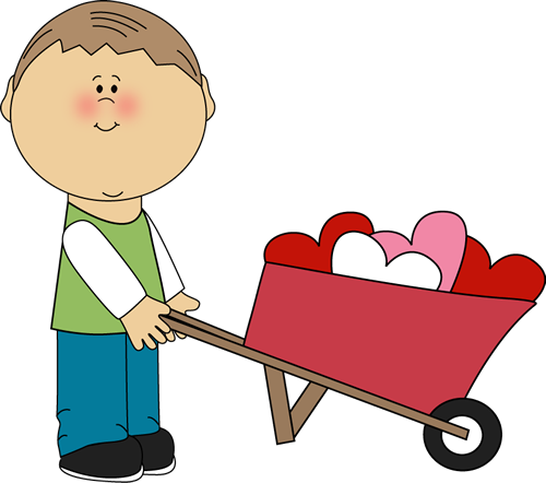 Boy Pushing Wheelbarrow of Hearts