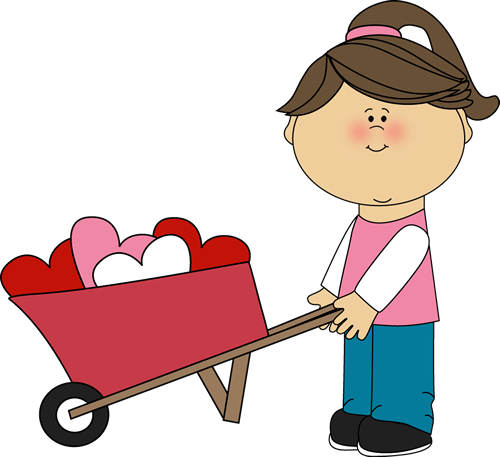 Girl Pushing Wheelbarrow of Hearts